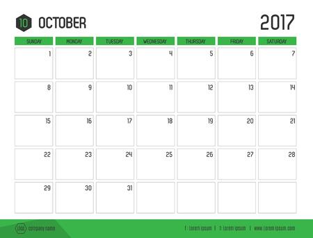 Vector del calendario 2017 año nuevo, octubre, con la barra de color verde y plantilla de estilo moderno, limpio, inicio de la semana en domingo. Ilustración de vector