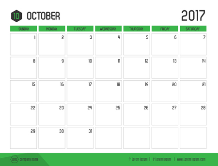 Vector of Calendar 2017 new year, October with green bar color and clean modern style template ,Week start at Sunday. Vetores