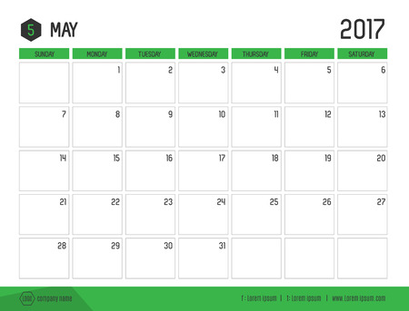table calendar: Vector of Calendar 2017 new year, May with green bar color and clean modern style template ,Week start at Sunday.