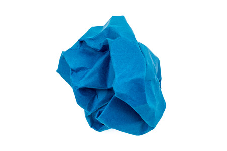 blue sphere: navy blue Crumpled paper ball isolated on white background.
