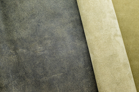 division: Close up fold grey leather texture background,fabrics Division. Stock Photo