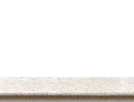 Empty cream marble stone table top isolate on white background, Leave space for placement you background,Template mock up for display of product. Stockfoto