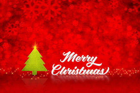 copy text: White Merry Christmas word and xmas tree with sparkling start line at red blur snowflake bokeh background,Holiday concept.
