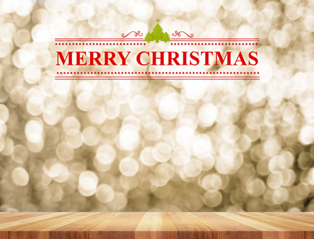 bokeh lights: Merry Christmas and christmas tree with line ornamental in perspective room with gold sparkling bokeh lights and wooden plank floor,Leave space for display or montage of content.