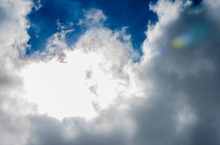 blue cloudy sky: Looking up at Nice blue sky with sun beam with cloudy.