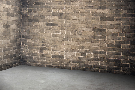Empty brick wall and concrete floor interior in perspective view,Mock up for display or montage of product. 写真素材
