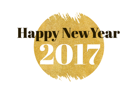blessing: Happy new year 2017 word on gold rectangle glitter on white background,Holiday blessing card.