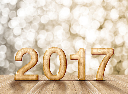 top of the year: 2017 year wood number in perspective room with sparkling bokeh wall and wooden plank floor,leave space for adding your content.