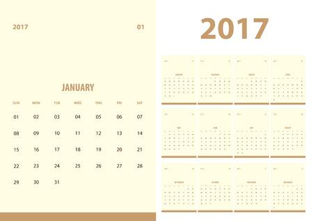 color in: 2017 calendario del año nuevo con un estilo limpio y sencillo con el fondo de color beige, conjunto de 12 meses, inicio de la semana Domingo, ajuste de tamaño de papel A5.