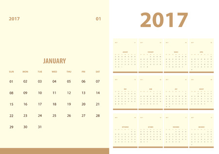 a5: 2017 new year calendar with simple clean style with beige color background, 12 month set, week start at Sunday, fit in A5 paper size.