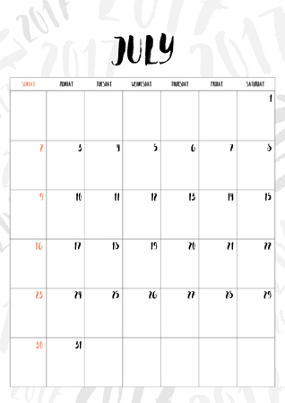 july calendar: 2017 calendar July month with table on 2017 pattern background, Fit on A4 size.
