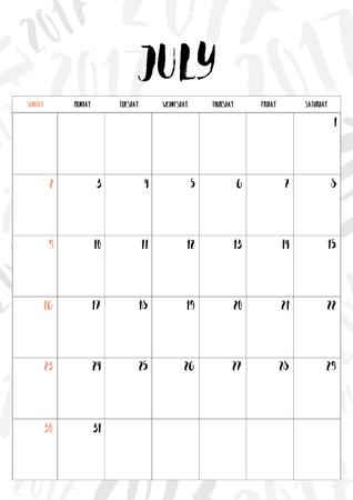 calendario julio: 2017 mes de julio con la tabla en el fondo del modelo 2017, Fit en tamaño A4. Vectores