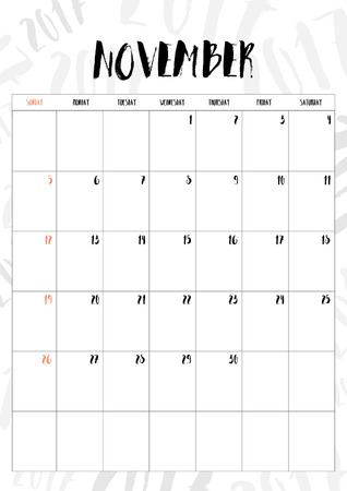 table calendar: 2017 calendar November month with table on 2017 pattern background, Fit on A4 size.