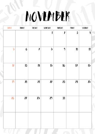 calendario noviembre: 2017 mes de noviembre con una mesa en el fondo del modelo de 2017, el ajuste del tamaño A4.