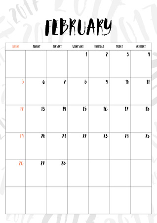 calender design: 2017 calendar February month with table on 2017 pattern background, Fit on A4 size.