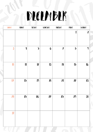 december background: 2017 calendar December month with table on 2017 pattern background, Fit on A4 size. Illustration