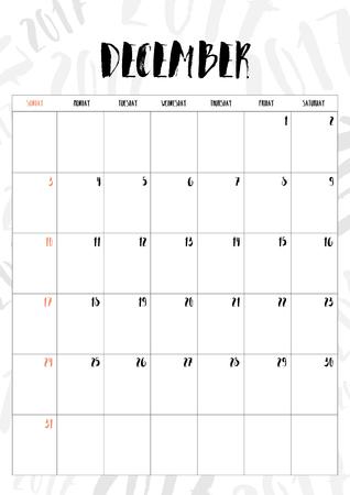 calendario diciembre: 2017 mes de diciembre, con la tabla en el fondo del modelo 2017, Fit en tamaño A4. Vectores