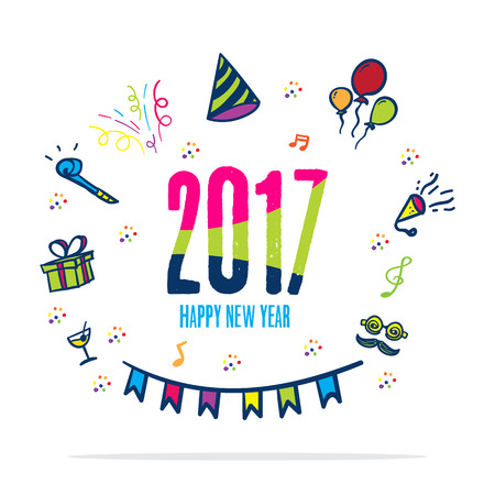 color of year: 2017 happy new year colorful color with doodle party icon on white background,Holiday card.