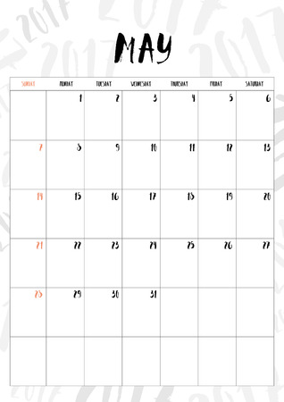 calender: 2017 calendar May month with table on 2017 pattern background, Fit on A4 size.
