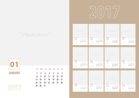 annual events: 2017 new year calendar with simple modern clean style , 12 month set, week start at Sunday, Template to adding your photo,Monthly in A5 paper size.