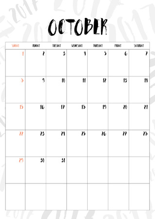 months: 2017 calendar October month with table on 2017 pattern background, Fit on A4 size. Illustration