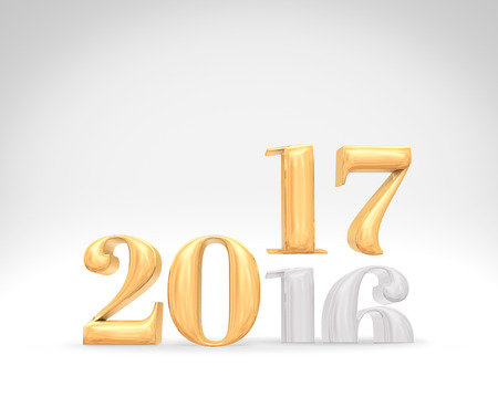 text room: 2016 year change to 207 new year golden number (3d rendering) on white studio room,Holiday card,Leave space for adding text