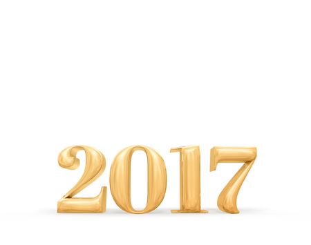 adding: 2017 new year golden number (3d rendering) on white studio room,Holiday card,Leave space for adding text. Stock Photo