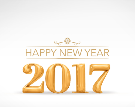 sparkling: 2017 new year golden number (3d rendering) on white studio room,Holiday card,Leave space for adding text. Stock Photo