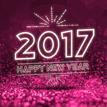 celebration background: 2017 happy new year on Abstract pink glitter perspective background. Stock Photo
