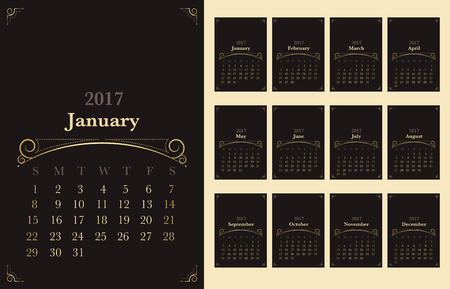 gold brown: Vector of Calendar 2017 year with vintage ornament decoration gold color on dark brown background,Holiday festive concept,start with sunday.