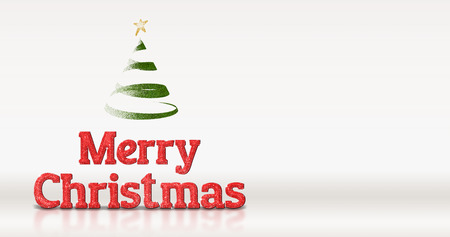 adding: Merry christmas red glitter with christmas tree on white studio room background,Holiday greeting card,leave space for adding text.