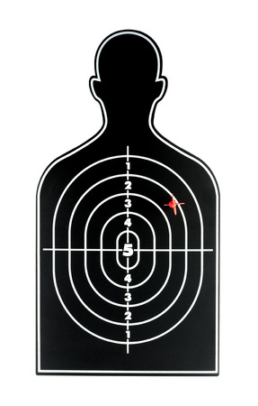 symbol victim: Black human shape dart board with red arrow on white backgroud. Stock Photo