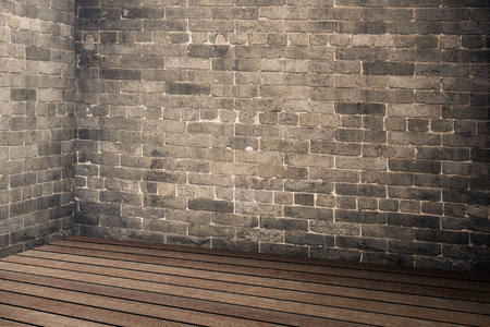 Empty brick wall and wood plank floor  interior in perspective view,Mock up for display or montage of product