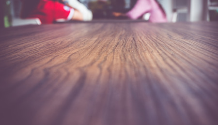 low perspective: Rustic Wood plank in perspective view (low angle) in coffee shop. Stock Photo