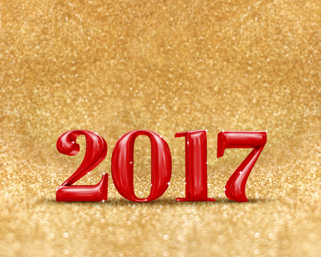golden color: happy new year 2017 (3d rendering) red color at golden sparkling glitter room background,new year an christmas greeting card,Mock up for display or montage of your design.