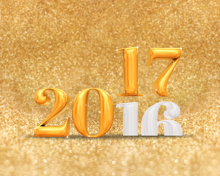 color of year: 3d rendering golden color 2016 number year change to 2017 year at golden sparkling glitter room background,Holiday greeting card.