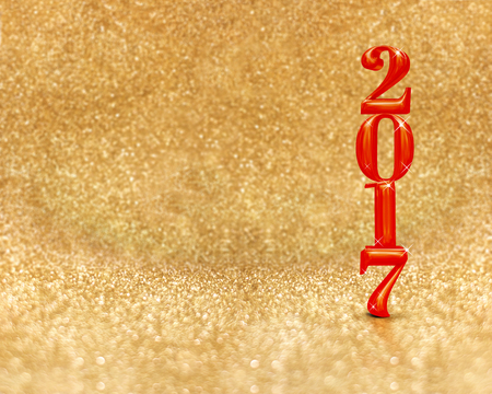 golden color: happy new year 2017 (3d rendering) red color at golden sparkling glitter room background,Holiday greeting card,Mock up for display or montage of your design.