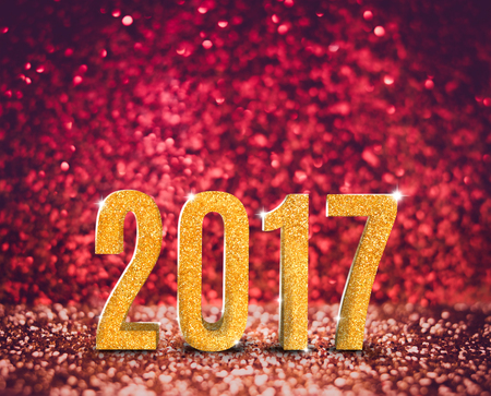 greeting cards: Happy new year 2017 (3d rendering) year in vintage red and gold glitter background, Holiday card concept. Stock Photo