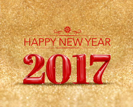 golden color: happy new year 2017 (3d rendering) red color at golden sparkling glitter room background,new year an christmas greeting card. Stock Photo