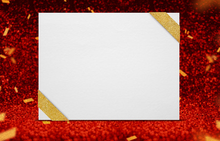 award background: Blank poster with ribbon at perspective red sparkling glitter with gold confetti,holiday and event greeting card design,Leave space for text. Stock Photo