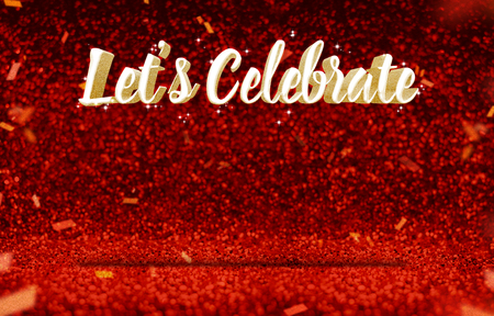 glitz: Lets Celebrate (3d rendering) gold glitz at perspective red sparkling glitter with gold confetti,greeting card design,Leave space for display or montage of content.
