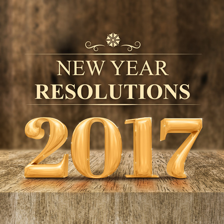 Gold shiny 2017 new year resolutions (3d rendering) at wooden block table and blur wood wall,Holiday greeting card,Mock up for display of your design or content for social media.