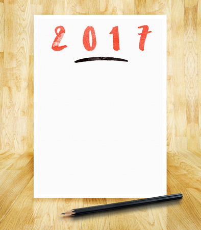 2017 New Year On White Paper Frame With Pencil In Hand Brush.. Stock ...