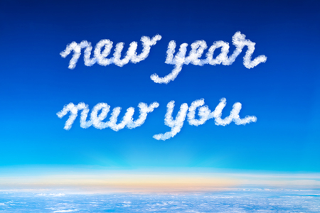 inspiration quote,New year new your cloud text on blue sky and sun rise at morning time,Motivational typographic Stock Photo