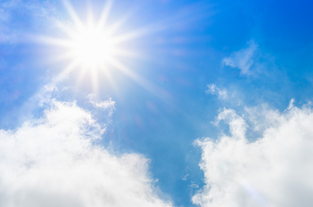 blue cloudy sky: Looking up at Nice blue sky with sun beam and cloudy,Nature background.