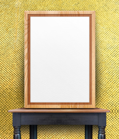 Blank Wooden Photo Frame Leaning At Gold Mosaic Tile Wall On.. Stock ...