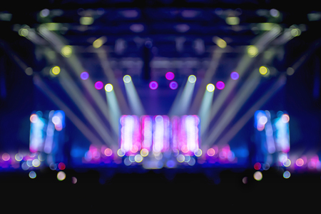 Blurred background,Bokeh lighting in concert with audience ,Music showbiz concept. Stock Photo