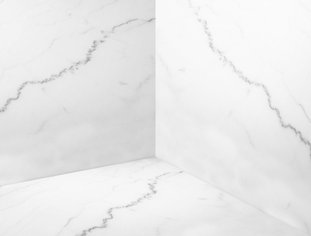 Empty White Glossy Marble Corner Studio Room BackgroundMock Up Template For Display Or Montage