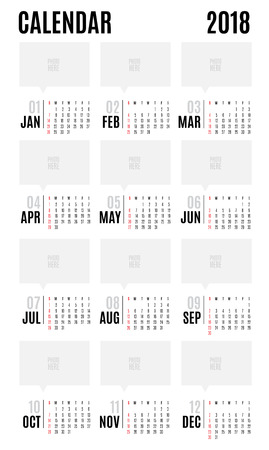 event calendar: 2018 Vector Calendar modern simple design,Leave space for adding your photo,Holiday event planner,Week Starts Sunday.