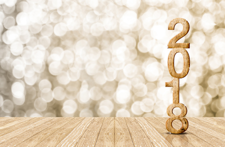 2016 year wood number in perspective room with sparkling bokeh wall and wooden plank floor
